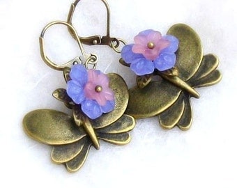 Bronze Butterfly Lucite Flower Earrings, Periwinkle & Pink Lucite Flowers, Antique Brass Leverbacks ... Spring Floral Jewelry