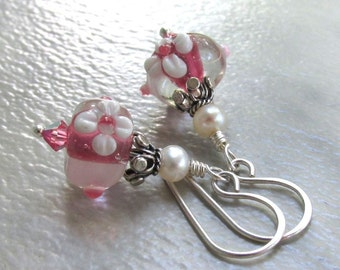Lampwork Glass Pearl Earrings, Sterling Silver, Swarovski Crystals, Freshwater Pearls - Pink & White Floral Earrings