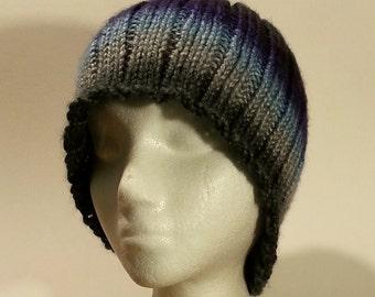 Striped ribbed acrylic beanie unisex blues greys purples
