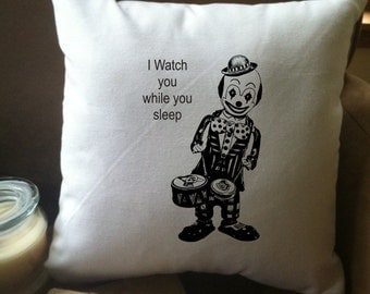 Scary evil clown throw pillow cover, I watch you while you sleep pillow cover