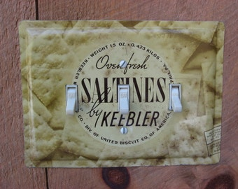 Antique Farmhouse Decor Switch Cover Switch Plate Made From An Old Keebler Saltines Tin Vintage Country Lighting TP-4022