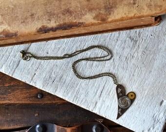 Clockwork Heart Necklace - Steampunk Heart Pendant - Womens Necklace- Steampunk Wedding - Valentines Day
