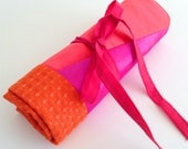 Retro Style Orange Coral Purple Makeup Brush Roll