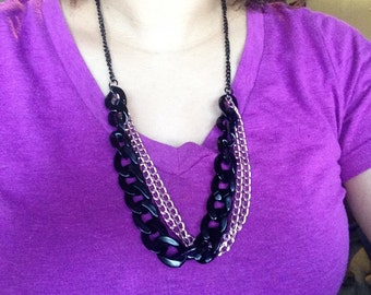 Muti-chain pink and black necklace