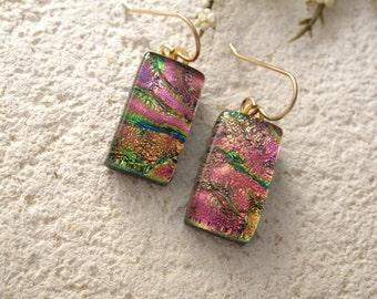 Pink Dichroic Glass Earrings, Golden Pink Black Earrings, Dichroic Fused Glass Jewelry, Dichroic Earrings, Gold Filled Earrings 120414e109