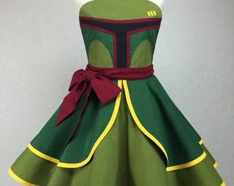Star Wars Inspired Handmade Boba Fett Apron - Full Circle Skirt Pin Up Cosplay Costume