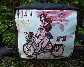 European Travel Shoulder bag, zippered cross body bag, medium sized, Who's That Girl?, The Raccoon