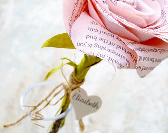2nd Wedding Anniversary Cotton Flower with Personalized Heart with poem i carry your heart  EE Cummings - Made To Order
