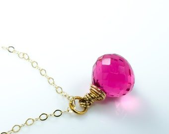 Hot Pink Quartz Briolette Gold Gemstone Necklace