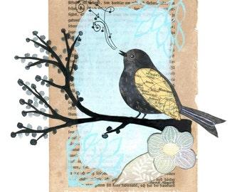 Bird - A4 size print . Bird on branch - mixed media artwork for nursery , home decor , wall art , illustration