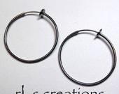 Hoop Earrings 35mm Non-Pierced Gunmetal Plated Brass - 1 pair