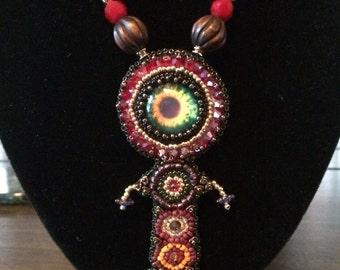 Third eye feminine bead embroidered pendant