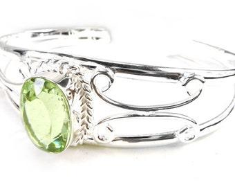 Sale: Green Amethyst Sterling Silver Cuff Bracelet for Large Wrists