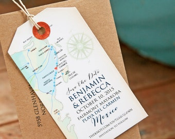 Save the Date Magnet Tag - Mayan Riviera and Cancun Mexico Luggage Tag Magnets - Map Save the Dates - Design Fee