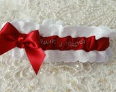 Hand Embroidered Always & Forever Red and White Garter-Wedding-Gift-Prom-