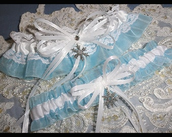 Frozen Blue & White Snowflake Satin-Organza Garter Set-Winter Wedding-Holiday-Prom