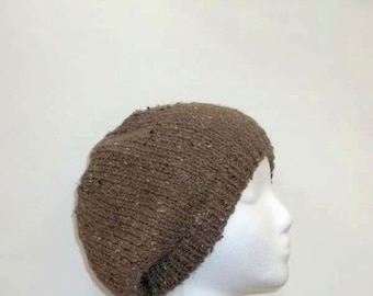 Knitted beanie beret,  brown textured , mens hat, womens hat   4906