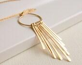 Valentine's Sale. Fringe Hoop Necklace. Metal Necklace. Metalwork Necklace.