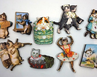Happy Cat Collection - 9 Wooden Cat Cuts