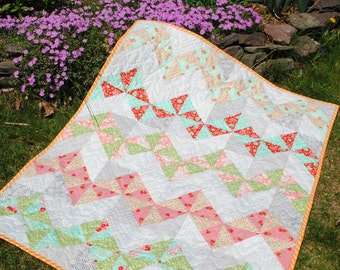 PDF Baby to King Size Patchwork Quilt Pattern, 5 sizes, Fat Quarter Friendly Heart Felt