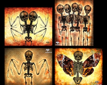 "Prints 8x10"" - Skeletons - Skull Dark Art Horror Bones Lowbrow Art Gothic Taxidermy Bats Death Moth Haunted Zombie Grave Conjoined Monster"