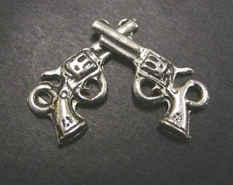 6pc antique silver metal gun pendant-2527