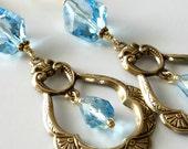 Aquamarine Crystal Earrings, March Birthstone, Swarovski Crystals, Gold Drop Beaded Earrings, Dangle Earrings, Beaded Jewelry