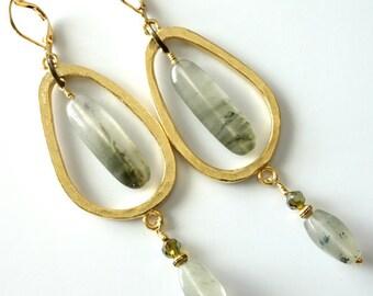 Seaweed Quartz Earrings, Brushed Gold Hoops, Long Dangle Beaded Earrings, Gemstones, Crystals, Green, Beach, Ocean, Beaded Jewelry
