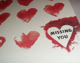 Missing You Valentine's Day Card Romantic  5x7 Greeting Card Blank inside by Agorables Blood Red