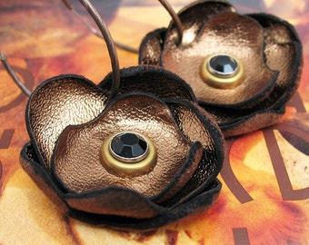 Copper Leather Flower Hoop Earrings, Dangle Earrings, EcoFriendly, Unique Jewelry, OOAK