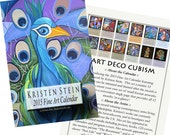 2015  Art Deco Cubism - Contemporary Fine Art Calendar with Display Holder -- Art & Paintings by Kristen Stein