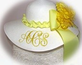 Kids Girl Child Monogrammed Floppy Hat Pink or White for Flower Girl, Wedding, Sun, Beach, Princess Party TO MATCH MOM