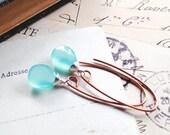 B l u e. E v e n i n g..... Aqua blue chalcedony and copper mixed metal earrings ooak
