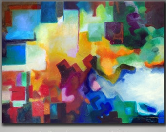 """Abstract painting giclee print on canvas, from my original abstract acrylic painting, 30x40"""""""