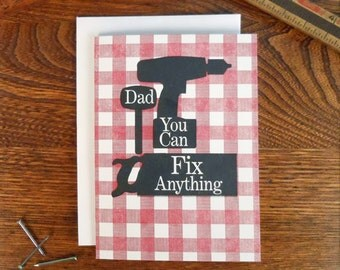 letterpress dad you can fix anything manual greeting card red flannel plaid power tools father's day thank you birthday