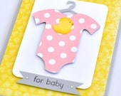 Pink Polkadot Duckie Onesie Card for New Baby Girl, Baby Congratulations and Baby Shower Card
