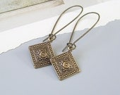 Dainty Victorian Vintage Style Earrings . Embossed Antiqued Brass Charm Earring with your choice of ear wires