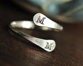 Adjustable Initial Ring - Couples Ring - Sisters Ring - Bypass Ring - Friendship Ring - Relationship Ring - thumb ring - finger cuff