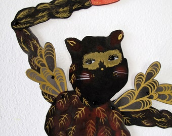 Feathered Cat Burgular DIY or constructed Paper Doll Articulated / Hinged Beasts Series