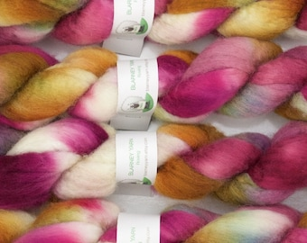 Handpainted Bluefaced Leicester Wool Roving in Wild Rose II by Blarney Yarn