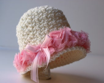 Vintage Inspired Crochet Hat Pattern - Shabby Rose Trimmed Cloche Flapper Hat - 4 sizes Baby Hat Pattern -  No. 77