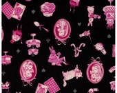 HALF YARD - Alice in Wonderland Cameo on BLACK - Rabbit, Cat, Cake, Teapot, Cupcake, Watch, Playing Cards, Castle - Cosmo Textile Japanese