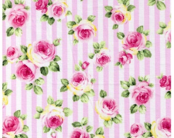 HALF YARD - Roses on Pink and White Stripes - Lolita, Flowers, Leaves, Kawaii  - Cosmo Textiles Japanese Import