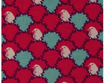 HALF YARD Kokka Fall 2014 Echino Birds in Shell in RASPBERRY - Jg96000-602C - Cotton Linen