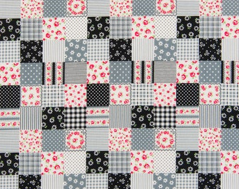 HALF YARD - BLACK Patchwork - Flowers, Stripes, Dots, Roses, Gingham - Cosmo Textile Japanese Import Fabric