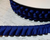 Royal Blue Grograin Box Pleat Ruffle Trim - approx 7/8 inch