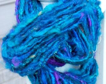 Handspun Art Yarn- Peacock Dreams- Signature Jazztutle CloudSpun Artisan Yarn