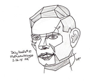 No.37 Mathematologist / Original Artwork / Drawing / Illustration / Daily Doodle / Math Lover / Black & White Line Drawing of Alan Turing