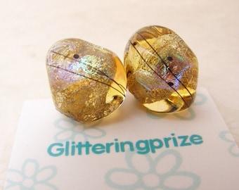 Lampwork Beads Golden Ice Rainbow Nuggets