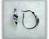 5mm Lab Created Alexandrite Gemstones and 3mm White Cubic Zirconia Accents in 925 Sterling Silver Hoop Earrings